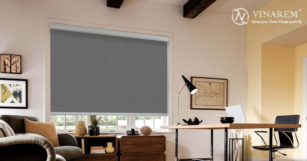 Rèm cuốn cửa sổ màu xám đen