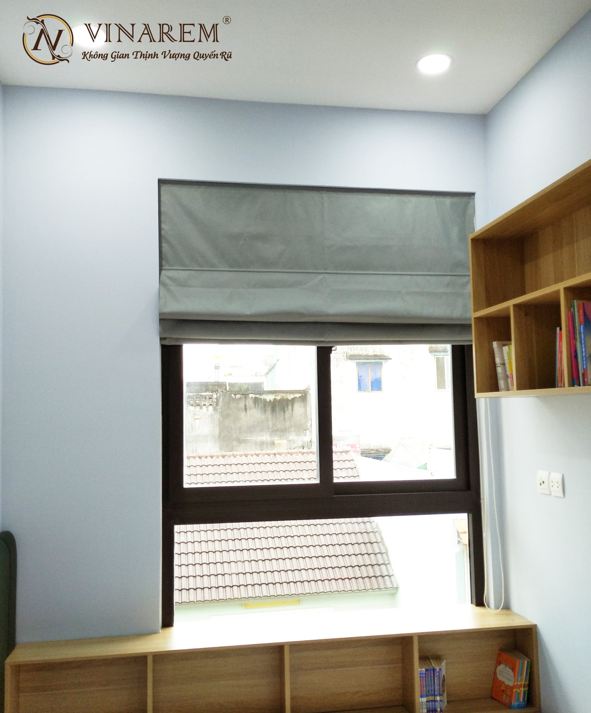 Rèm roman màu trắng ngà cao cấp cho cửa sổ