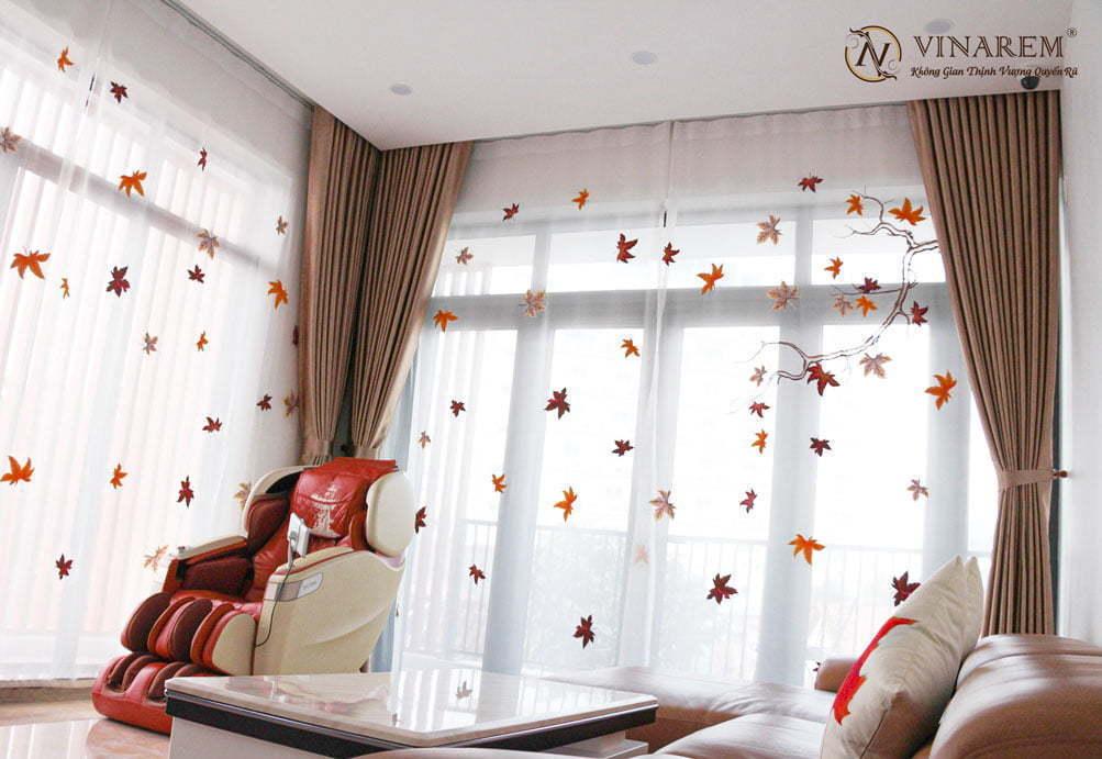 Rèm voan thêu tay cao cấp dành cho phòng khách biệt thự | Vinarem