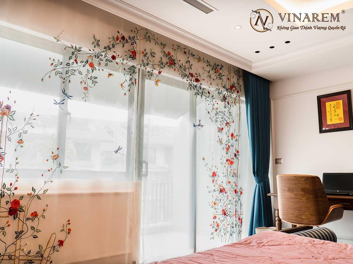 Rèm voan thêu cao cấp cho không gian phòng ngủ