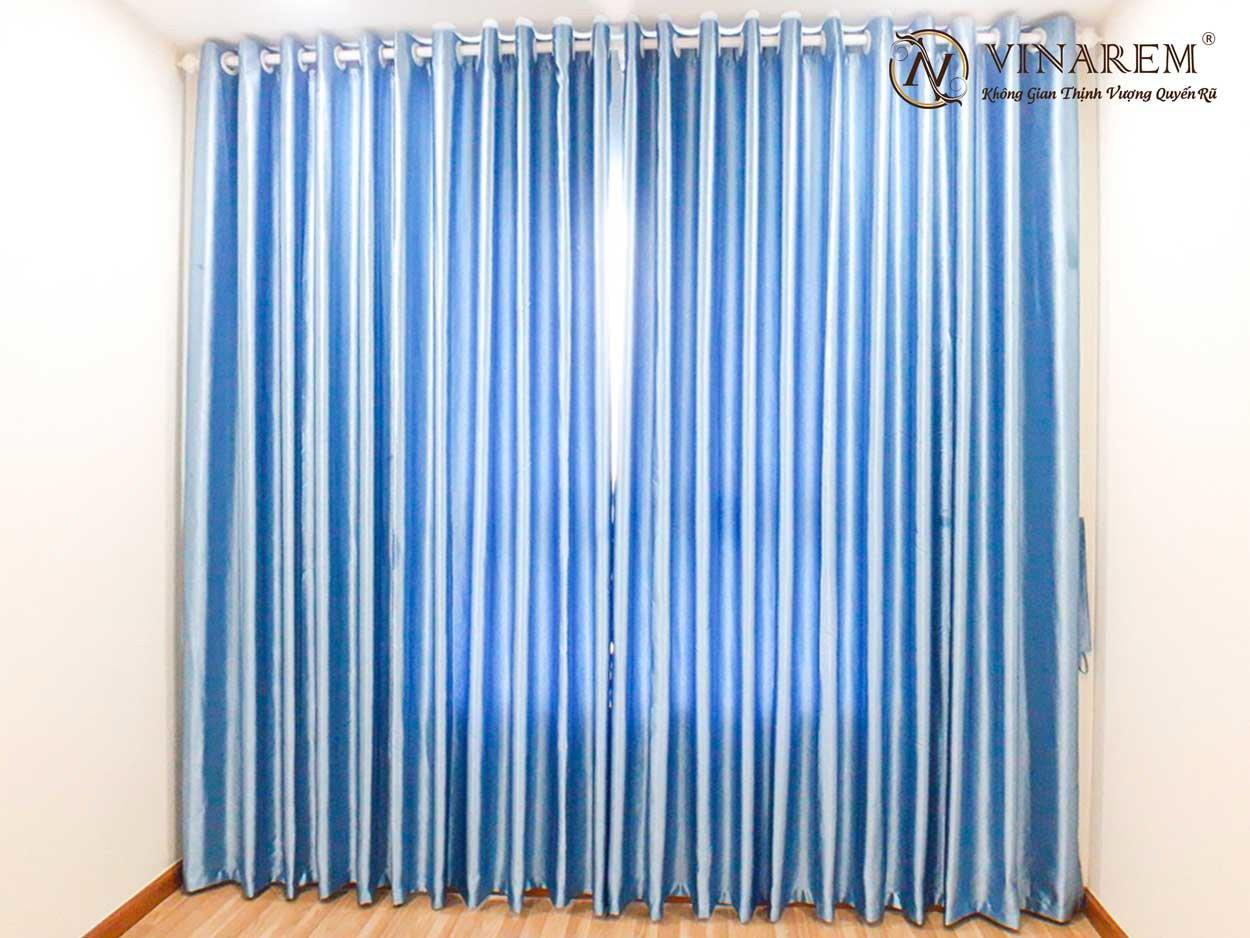 Rèm vải một lớp màu xanh dương   Vinarem