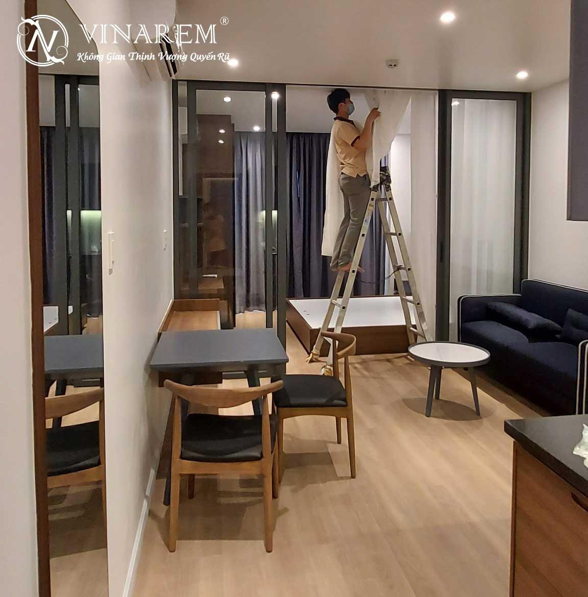 Rèm vri hai lớp cho phòng ngủ căn hộ chung cư cao cấp | Vinarem