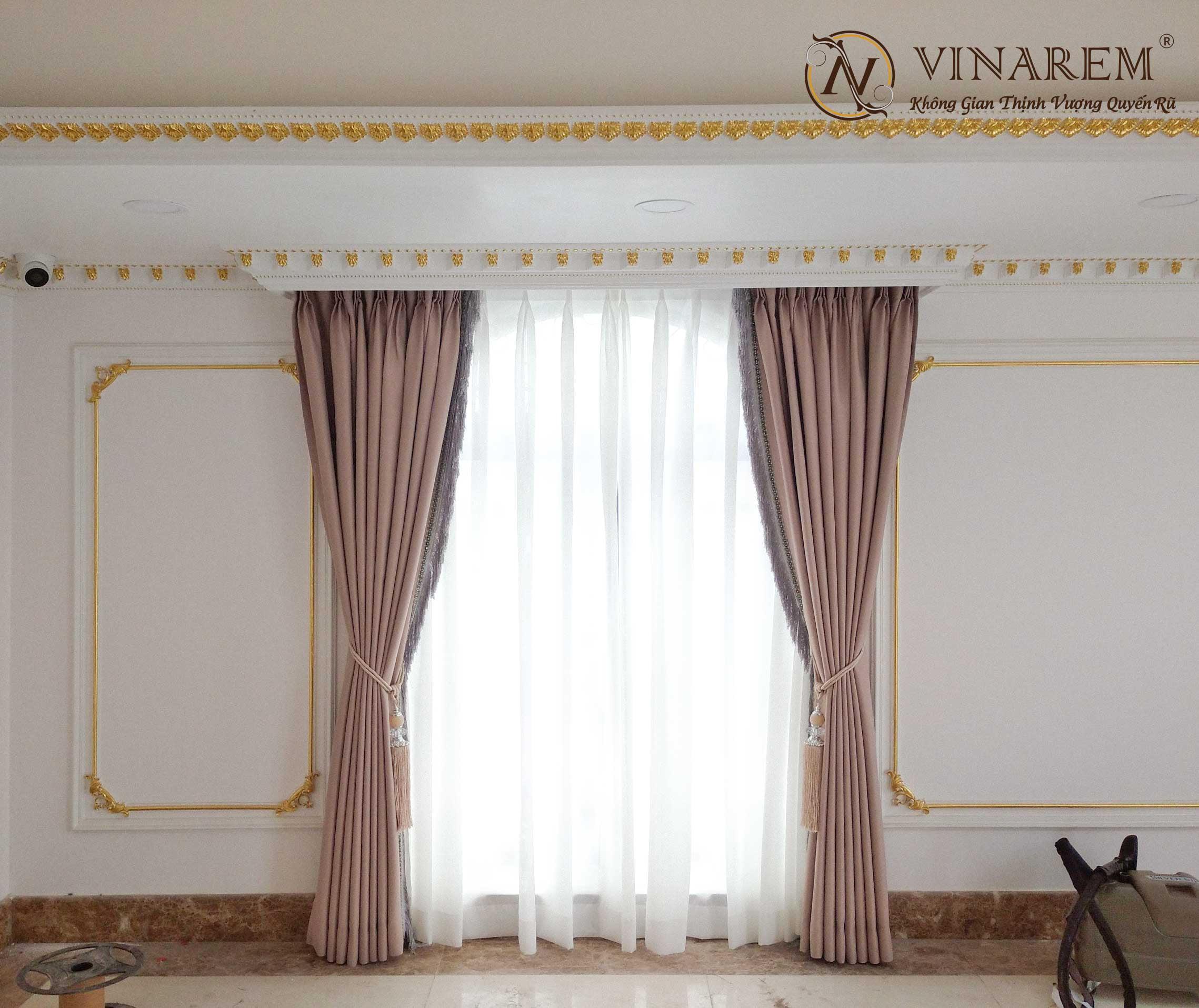 Rèm vải hai lớp  màu nâu cổ điển | Vinarem