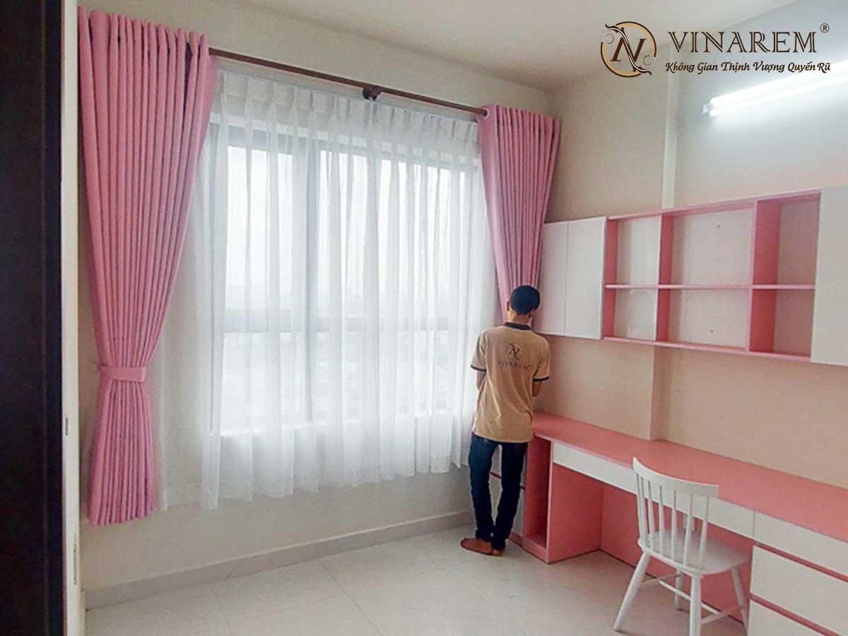 Rèm vải hai lớp màu hồng dành cho phòng ngủ   Vinarem