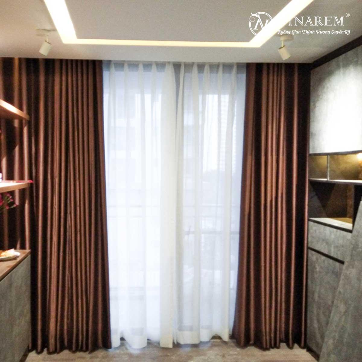 Rèm vải hai lớp cửa sổ căn hộ chung cư