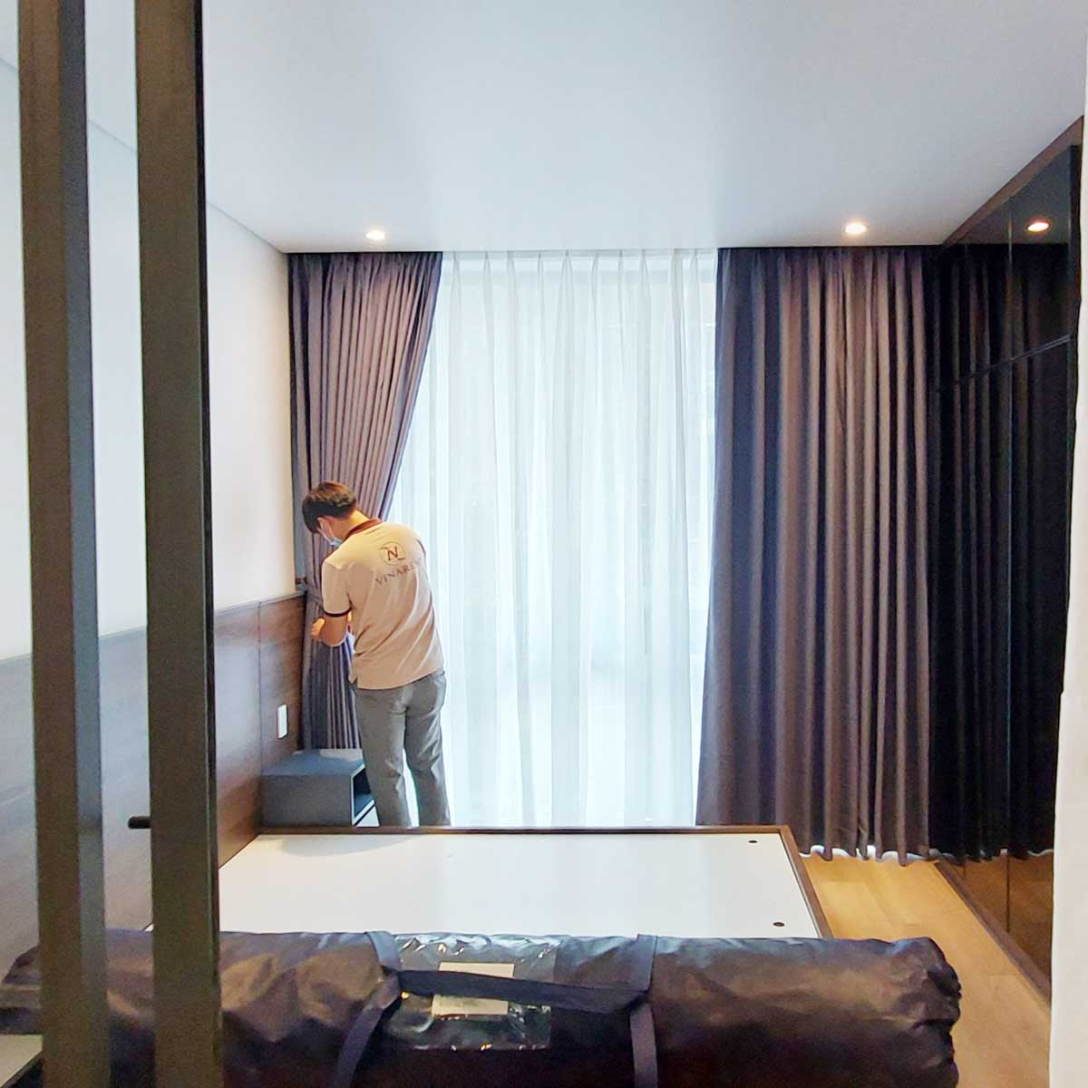 Rèm vri hai lớp cho phòng ngủ căn hộ chung cư cao cấp