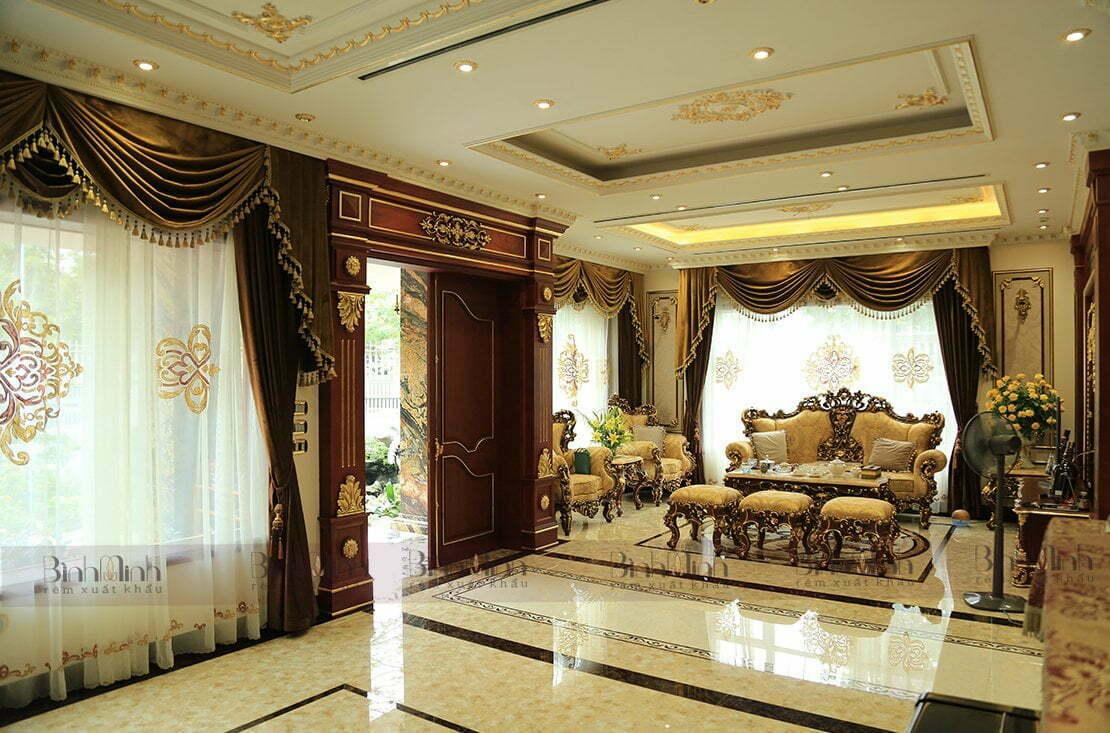 Rèm thêu tay cao cấp dành cho không gian phòng khách biệt thự sang trọng