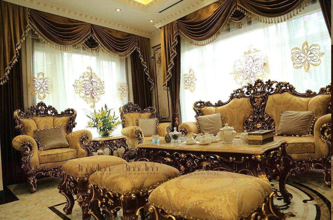 Rèm thêu tay cao cấp dành cho không gian phòng khách biệt thự sang trọng | Vinarem