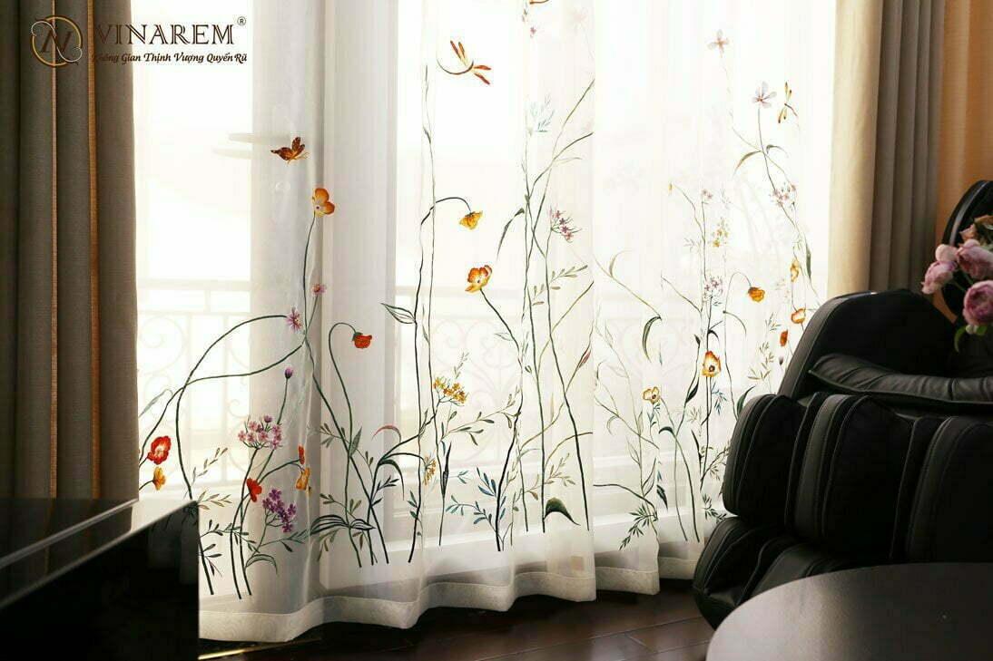 Rèm thêu cao cấp phòng sinh hoạt chung biệt thự | Vinarem