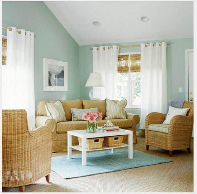tường màu xanh ngọc hợp với rèm màu gì
