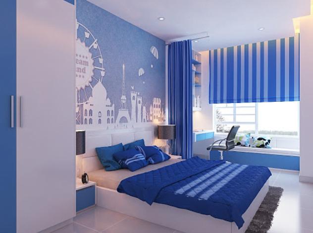 tường màu xanh chọn rèm màu gì